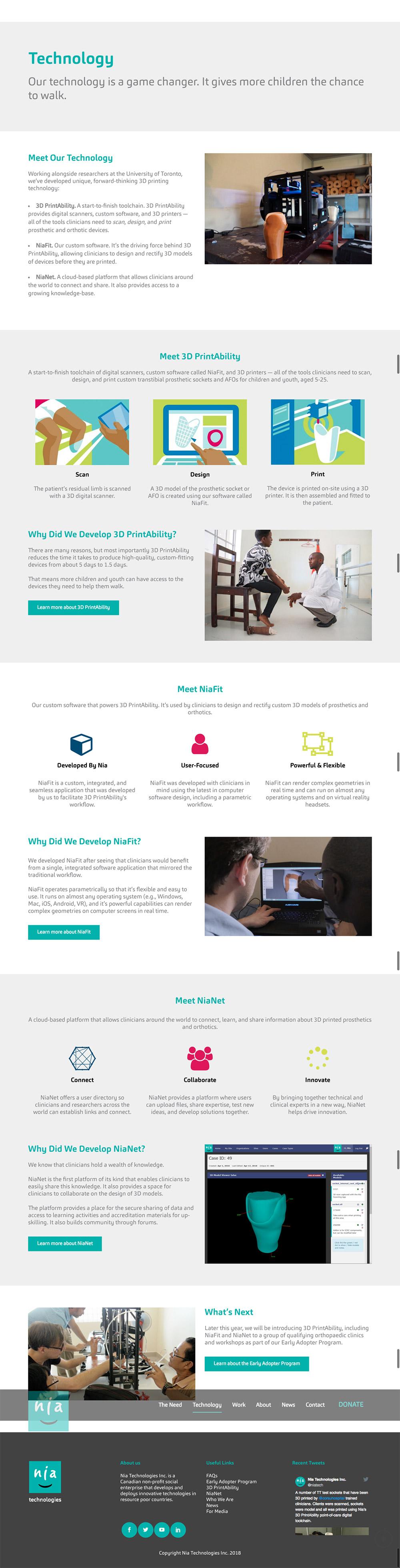 Copywriting sample - Nia Technologies website