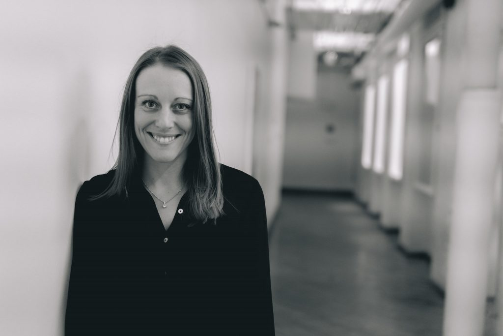 Black and white picture of copywriter Karina Barker