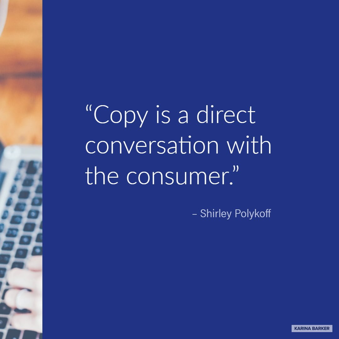 Copywriting Quote - Shirley Polykoff